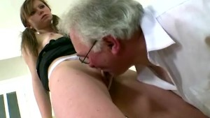 Old gray-haired teacher fucks
