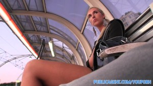 PublicAgent Long legged blonde fucked in the bushes