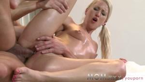 MOM Blonde MILF rubs more than