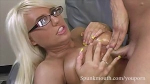 Giant titted blonde Jacky Joy gets her funbags fucked for cum in mouth