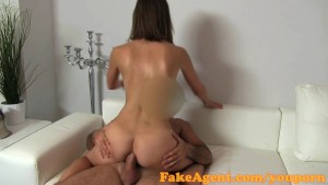 FakeAgent Hot brunette gets face full of spunk