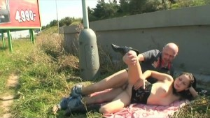 Outdoor fuck with babe and man
