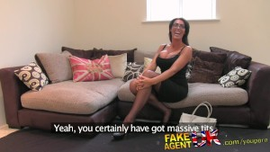 FakeAgentUK Tall secretary chick with incredible tits proves too much for agents cock