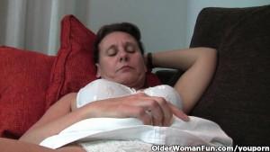 Hairy granny with hard nipples