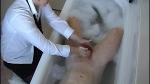 Office lady giving a handjob