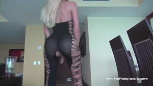 Ana Mancini s sexy black cat suit