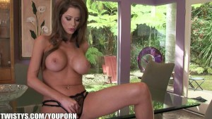 Emily Addison strips out of he