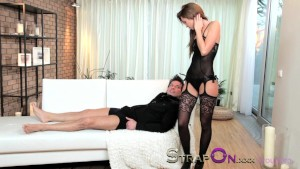 StrapOn Tattooed guy is pegged by his sexy brunette girlfriend