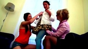 Two teen students come to their teacher s home and get seduced by old lesbian