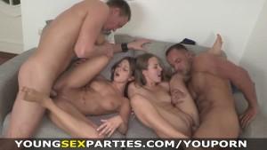 Young Sex Parties - Teen sluts fucked head to head