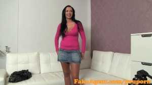 FakeAgent Creampie for horny brunette amateur in casting interview