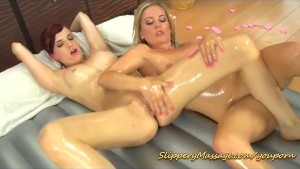Lesbian Nuru massage with Leony April and Leila Smith