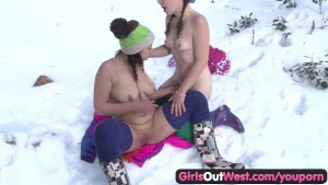 Girls Out West - Hairy Rosie fingered in snow