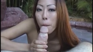 Asian amateur gives an outdoor