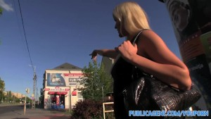 PublicAgent Long haired sexy blonde in fucked outdoors by a stranger