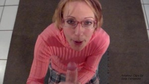 Slut Librarian Blows You and Takes Facial to Keep You Quiet