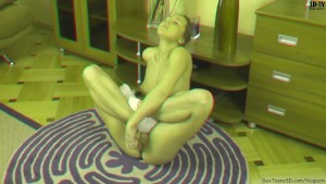 Flexible teen girl playing with dildo in 3D