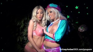 Porn set Behind the Scenes with two hot big tittie blondes