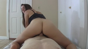 She teases & licks his cock then rides cowgirl front & back to cumshot