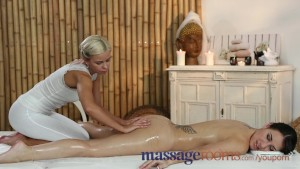 Massage Rooms Teen gets sweet body oiled by young lesbian masseuse