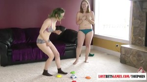 Two babes play a game of strip match the colors