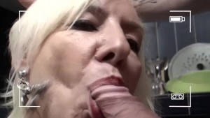French milf blows her boy toy