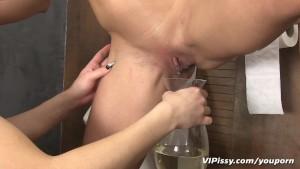 Piss loving girls shower in fresh pee