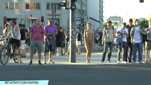 Sweet Jenny shows her sexy body completely naked in public