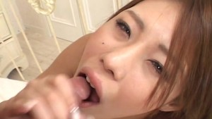 Beautiful girl Haruka Sanada takes a cock in her mouth uncensored