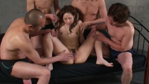Group of guys a get girl off -