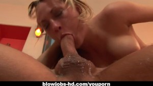 Blonde slut Harmony Rose gags on that fat thing