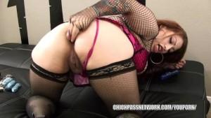 Latina plumper Poison fucks her ass with a dildo