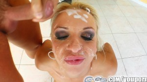 Cum For Cover Kitty s throat gets fucked by multiple cocks