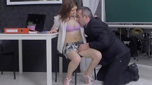 Tricky old teacher fucked brown-haired teen student in the classroom