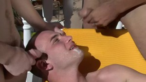 2 guys cum on his face at the resort - Factory Video