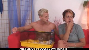 Granny rides her neighbour s cock