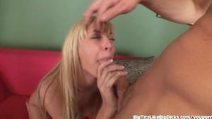 Busty Blond Takes Big Titty Cumshot
