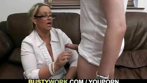 Busty salesgirl gets boned fro