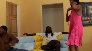 Ebony slut comes for a party, stays for the cock