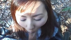 Hungry hungry Japanese whore eats a hairy cock in public