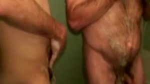 Mature redneck bears soap each other up