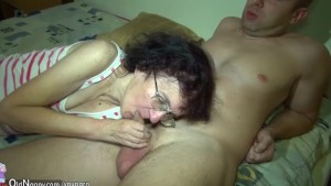 Old chubby Granny masturbate with mature man and yound girl