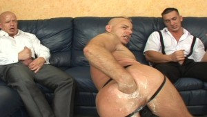 Nothing entertains your party guests more than having a dude shove a big ol black dildo up his anus