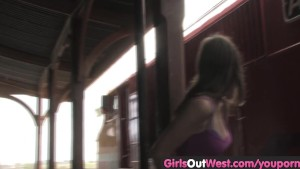 Girls Out West - Hairy and shaved lesbians at the train station