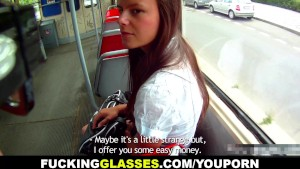Fucking Glasses - Fucked for cash near the bus stop