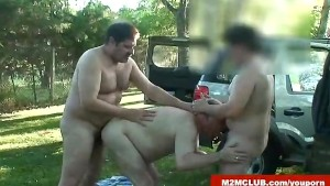 Horny bear fucking outdoors