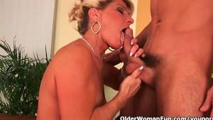 Cumming on a grandmas face