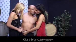 Horny babes seduce and fuck hard a winery waiter