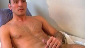Sylvain, a bisexual guy get wanked and more his huge cock by us !