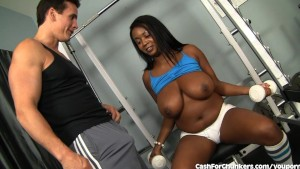 Busty Ebony Girl Fucks White Cock For Cash
